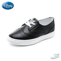 【119元任选2双】迪士尼Disney童鞋18新款儿童休闲运动男女童鞋 布洛克雕花弹力带黑白鞋(5-10岁可选)