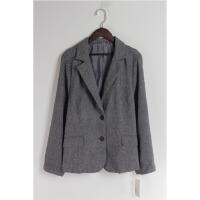 AA0402新款韩版简约两粒纽扣修身显瘦百搭女纯色西装外套大码