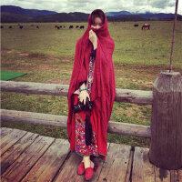 丝巾女夏防晒沙滩纱巾披肩百搭西藏旅游大民族风纯色文艺海边度假
