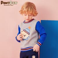 【3件4折 到手价:223元】Pawinpaw卡通小熊童装新款冬男童撞色卫衣儿童保暖卫衣潮