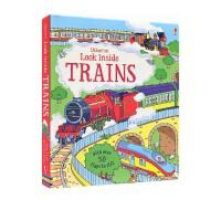 预售 Usborne Look Inside Trains 看里面低幼系列 揭秘火车 英文原版 儿童STEM认知启图画书