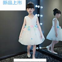 礼服公主裙女童白色晚礼服走秀表演花童小主持人钢琴演出服秋