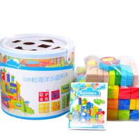 儿童木制积木玩具宝宝男孩女孩1-3周岁玩具桶装积木