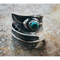 羽毛叶子个性指环高桥男士钛钢复古情侣开口戒指复刻日系潮牌饰品