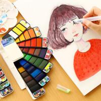 马利扇形固体水彩颜料套装初学者手绘透明写生彩画颜料自来水笔画笔绘画工具自来水笔水粉水彩分装组合便携式