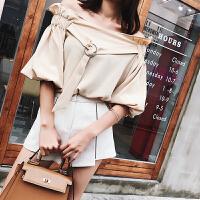 2017夏装新款韩版气质一字肩短款上衣时尚宽松显瘦露肩雪纺衫女潮