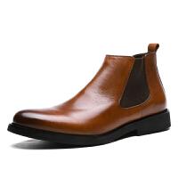 CUM 潮牌 秋冬新款高帮皮鞋英伦时尚潮流短靴子皮马丁靴牛皮正装男靴
