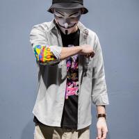 UXE彩色补丁贴布拼袖长袖衬衫日系青年休闲外套潮牌男士秋冬上衣