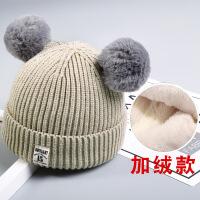 秋冬宝宝毛线帽子儿童加绒女童0婴儿1男童2女孩3韩版潮针织帽4岁 加绒款-- 3个月-4岁35-52CM