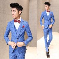 男士西服套装小西服韩版潮三件套装西服外套英伦修身格子西服套装