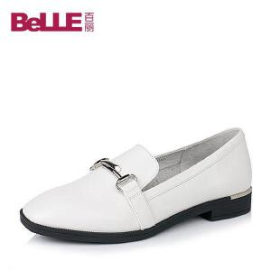 Belle/百丽2017春时尚英伦牛皮女单鞋LN28DAM7春季新款