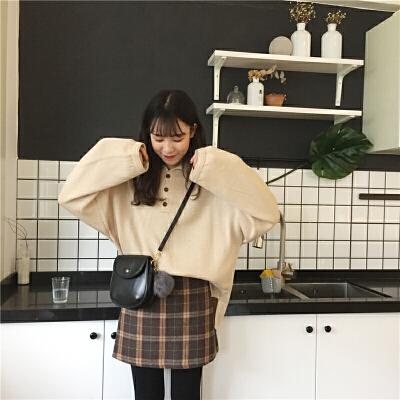 韩版复古纯色polo领针织衫慵懒风套头毛衣学生秋天上衣女潮上新  均码