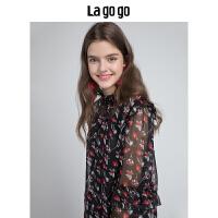 Lagogo拉谷谷2018秋新款女装真丝喇叭袖上衣两件套休闲套装蕾丝衫