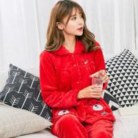 本命年红色睡衣秋冬季女士保暖加厚法兰绒睡衣大红色本命年珊瑚绒家居服