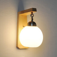 幽咸家居实木壁灯过道阳台北欧原木风格卧室床头简约YX-LMD-0101