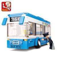 �和�益智玩具拼�b�模型拼插�e木小�w粒巴士拼�D男孩5-10�q6�Y物7
