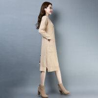 加长款毛衣女中长款加厚过膝毛衣裙秋冬季配大衣的长裙子