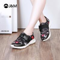 【低价秒杀】jm快乐玛丽春季新款平底运动套脚搭扣舒适休闲鞋女鞋子
