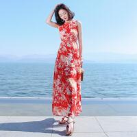 夏季新品女系带开叉雪纺长裙连衣裙波西米亚海边度假沙滩裙 图片色X566