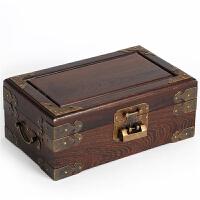 鸡翅木双层红木首饰盒带锁 木质实木仿古珠宝手饰品收纳盒