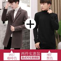 男士风衣2018韩版中长款呢子外套秋冬装毛呢大衣春秋新款潮流衣服 +807黑色