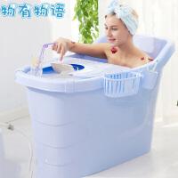 成人浴盆 洗澡桶成人塑料按摩成人泡澡桶大号儿童洗澡桶家用浴缸浴桶加厚带盖沐浴桶