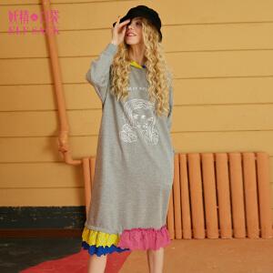 妖精的口袋冬装新款蕾丝连帽宽松连衣裙女1747026