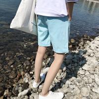 夏季新款刺绣五分裤直筒沙滩裤男士休闲短裤修身马裤韩版潮男裤子