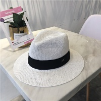 丁走走/经典巴拿马草帽女士夏季沙滩大檐帽英伦复古遮阳帽礼帽男 M(56-58cm)