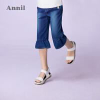 【3件3折:80.7】安奈儿童装女童荷叶边七分针织牛仔裤夏装新款