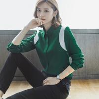 安妮纯女上衣2019新款秋装气质刺绣撞色法式荷叶边蝴蝶结衬衫