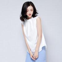 无袖雪纺上衣女夏2018新款韩版宽松显瘦百搭气质高领白色短袖衬衫
