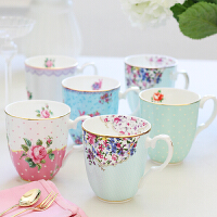骨瓷杯家用咖啡杯欧式马克杯水杯子陶瓷杯带盖勺