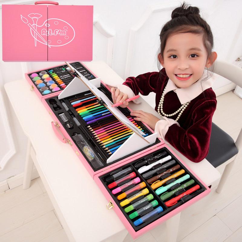 儿童绘画套装学习用品画笔画画工具儿童绘画套装小学生水彩笔画笔 每款都带画架,画笔颜色鲜亮