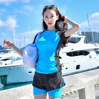 泳衣女保守短袖运动平角修身分体两件套游泳衣显瘦遮肚无钢托女式泳衣 湖蓝