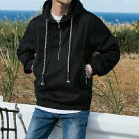 春季男士套头连帽卫衣时尚拉链抽绳韩版学生宽松帽衫外套潮流