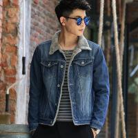 秋冬季青少年男士牛仔外套男加绒加厚夹克上衣学生韩版修身棉衣褂