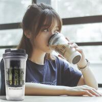 汉馨堂 塑料杯 原宿双层塑料磨砂随手杯 潮流小清新咖啡杯 可爱柠檬双层水杯定制