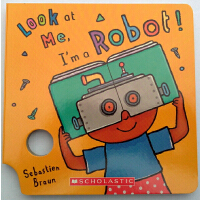 英文原版绘本Look At Me Mask I'm a Robot! 看我是机器人育儿纸板书 儿童面具书趣味游戏玩具洞