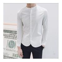 新品2018春季发型师潮男修身长袖衬衫个性纯色立领显瘦衬衣男装