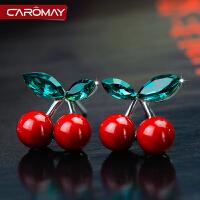红色樱桃女生耳环 925银饰甜美长款贝珠耳坠淑女气质耳饰