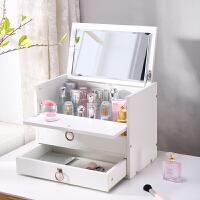 20181001044126622大号木制化妆品收纳盒桌面带镜子抽屉式置物架梳妆台化妆盒家用