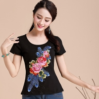 中国风女装 夏装新款民族风上衣短袖刺绣短袖t恤女修身绣花打底衫