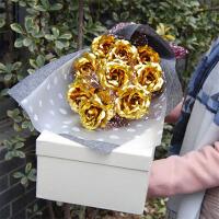 七彩金箔玫瑰花香皂花 仿真玫瑰花束卡通花束 生日表白情人节礼物 11金箔花 麻灰 镂盒