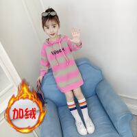 女童卫衣秋装2018新款韩版儿童春秋潮中长款洋气加绒秋季上衣长袖 加绒款