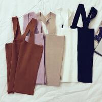 夏季纯色性感交叉露背吊带背心女修身无袖针织短上衣E252