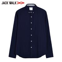 JACKWALK2018春季 青年舒适休闲长袖衬衫 男修身衬衣杰克沃克