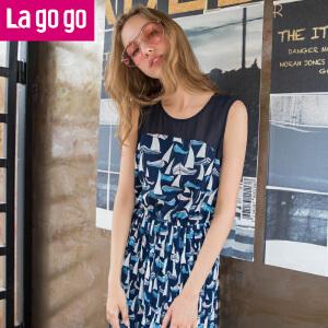 Lagogo2017夏季新款印花连衣裙女无袖百褶裙中长裙雪纺裙子沙滩裙