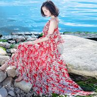 2018040306496雪纺连衣裙女士夏季新品女装红色碎花吊带波西米亚长裙海边度假沙滩裙 红色