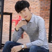 新款2018男士长袖男士个性长袖衬衫春秋款男装长袖寸衫韩版修潮流